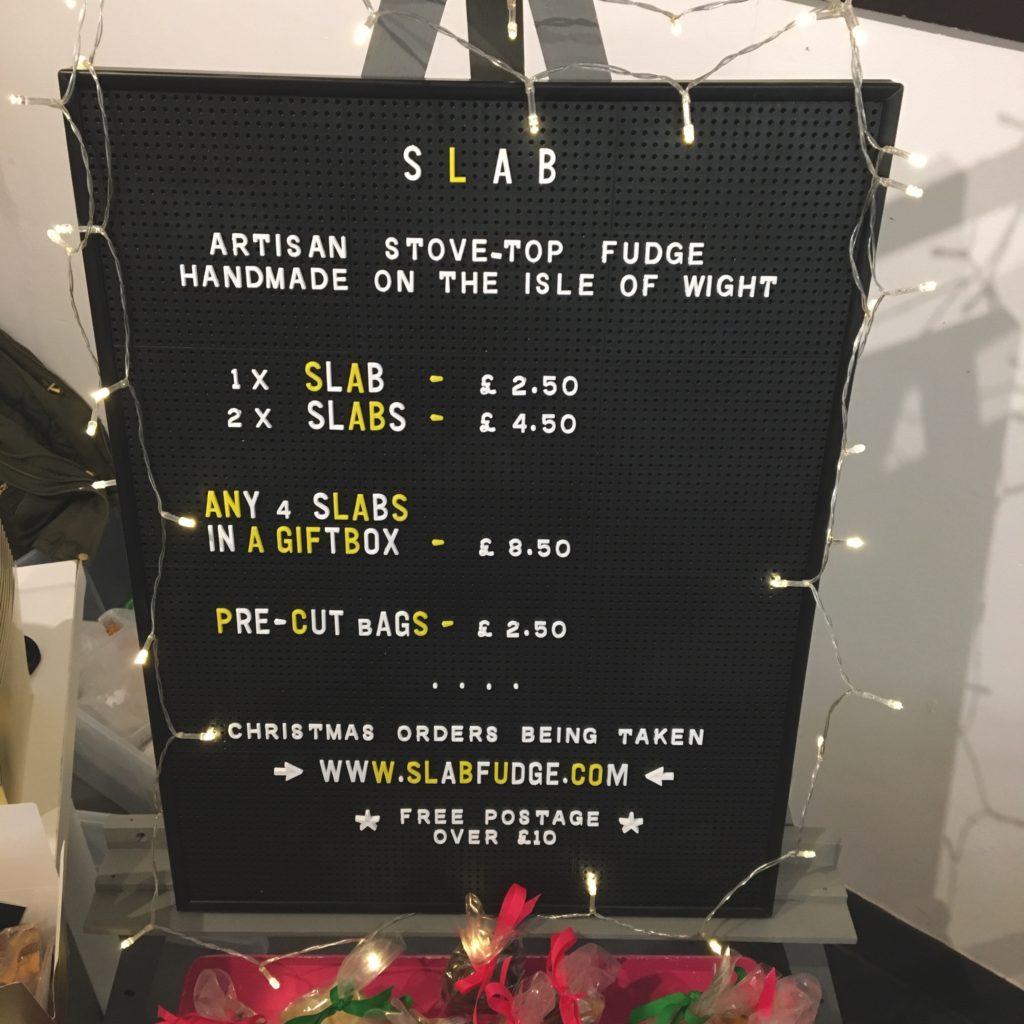 Slab Fudge Christmas Price Board