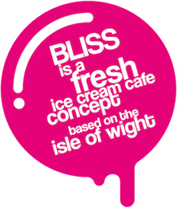 Bliss tagline inside a ice cream blob